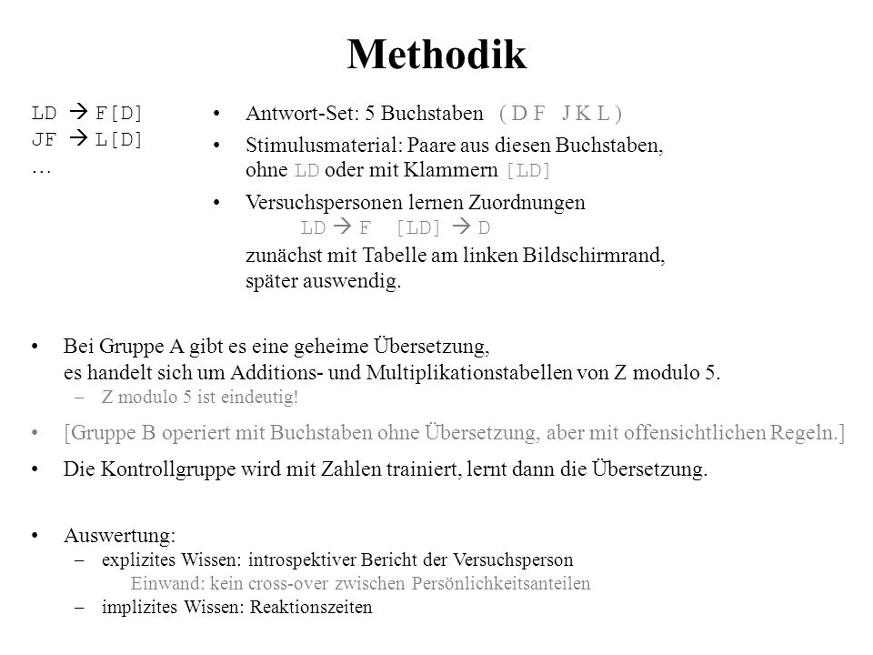 Methodik LD  F[D] JF  L[D] … Antwort-Set: 5 Buchstaben ( D F J K L )
